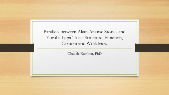 Parallels between Akan Ananse Stories and Yorùbá Ìjàpá Abibitumi