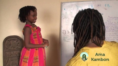 Ama Kambon Learning Arithmetic in her 3rd Language: Yorùbá (Base 20 System)