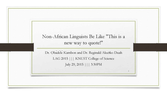 Serial Verb Nominalization in Akan: A Question of Intervening Elements
