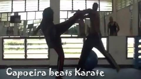 CAPOEIRA BEATS KARATE (KICK TO THE JAW)!
