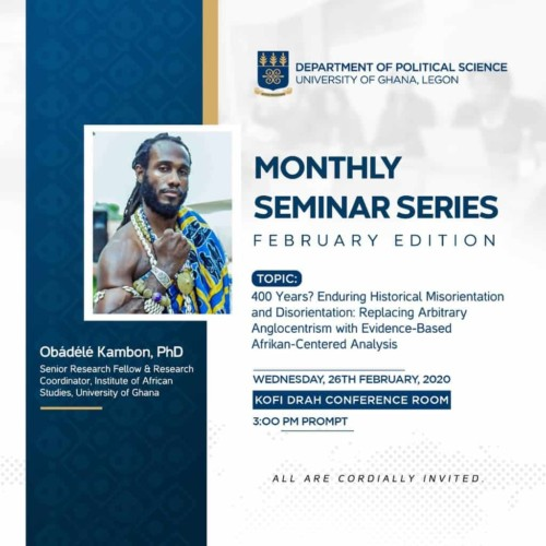 Political Science Obadele Kambon Lecture on Year of Return 400 years