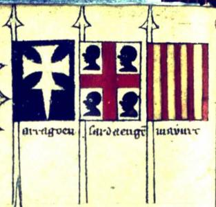 The banners of the kingdoms of  Pedro IV, the Ceremonious